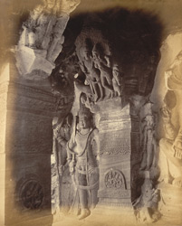 Pilaster and sculpture at left end of verandah of Cave III, Badami, Bijapur District.
